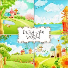 SUPER FREEBIES Blog: Fairy Tale Freebies Backgrounds (print and laminate and add some little characters to live in the fairy tale world. Would make a cute busy page)