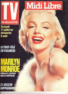 TV Magazine Midi Libre - July 30th 1989, magazine from Belgium. Front cover photo of Marilyn Monroe by Frank Powolny, 1953.