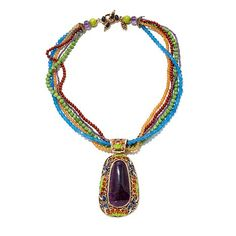 Amy Kahn Russell Bold Multigemstone Pendant Necklace...note the closure and different size and color of beads
