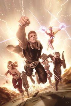Squadron Supreme: Hyperion, Blur, Dr Spretrum, Nighthawk & Thundra