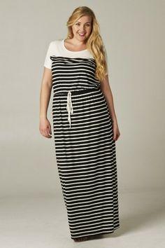 #salediem #blackandwhite #springfashion PLUS LONG MAXI STRIPE DRESS