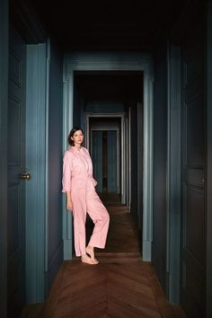 Jenna Lyons apartment, hallway painted in Farrow and Ball, Cardroom Green