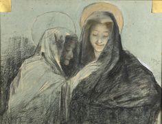 Lucien LÉVY-DHURMER (1865-1953) La Vierge et Saint Anne  Pastel et fusain signé et daté (18)96 à droite. 46 x 61 cm