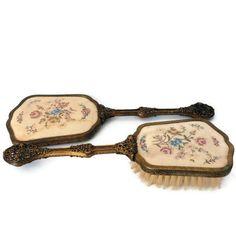 Vanity Mirror & Brush Set Victorian Antique