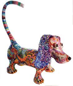 Rina Strod sculpture Paper Mache Sculpture, Dog Sculpture, Animal Sculptures, Paper Mache Projects, Paper Mache Crafts, Paper Clay, Paper Art, Paper Mache Paste, Paper Mache Animals