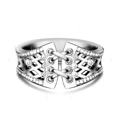 Wedding Dress Inspired Sterling Silver Wedding Ring Band For Her