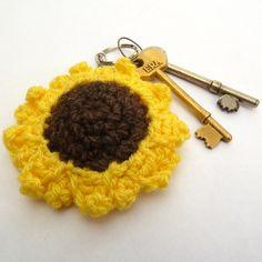 Sunflower crochet keyring £3.50