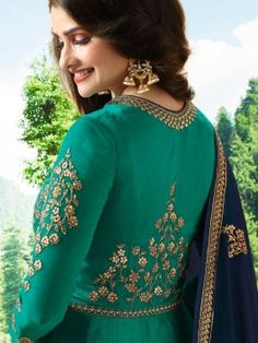 Buy Green Georgette Embroidered Anarkali Suit from Andaazfashion at Best Prices. Pakistani Dress Design, Pakistani Designers, Designer Anarkali Dresses, Designer Dresses, Latest Anarkali Suits, Churidar Neck Designs, Heavy Dupatta, Angrakha Style, Long Anarkali