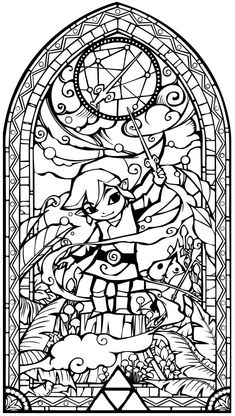 Legend of zelda wind waker Cool Coloring Pages, Coloring Pages To Print, Coloring Pages For Kids, Coloring Sheets, Coloring Books, Disney Stained Glass, Diy Wall Stickers, Leaf Drawing, Wind Waker