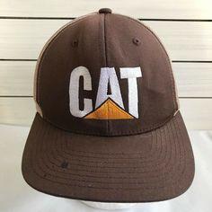 CAT Catepillar Trucker Hat Mesh Snapback Brown  Yupoong  TruckerHat Caps  Hats 3921a7e17587