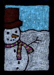 Bonhomme de neige sur carton noir et pastel