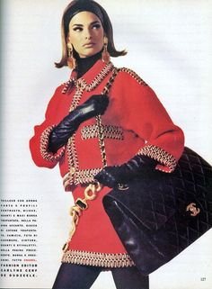 Chanel suit & bag-love the red paired with classic black bag