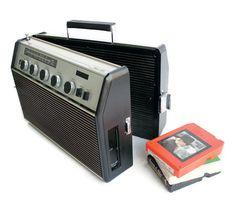AM FM Radio 8 Track Player with Detachable Speaker. $71.00, via Etsy.