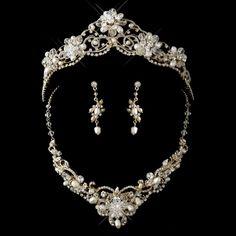 Gold Freshwater Pearl, Swarovski Crystal Bead and Rhinestone Tiara Headpiece 2596 & Jewelry Set 7825