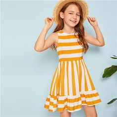 To find out about the Girls Striped Flounce Hem Dress at SHEIN, part of our latest Girls Dresses ready to shop online today! Girls Fashion Clothes, Kids Fashion, Girl Outfits, Cute Outfits, Fashion Outfits, Girls Dresses Online, Little Girl Dresses, The Dress, Baby Dress