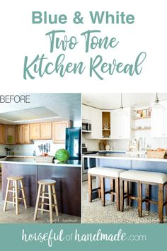 See how we created a beautiful two tone kitchen with loads of farmhouse charm. The blue and white two tone kitchen cabinets add instant style to the space. Two Tone Kitchen Cabinets, Kitchen Cabinet Colors, Diy Cabinets, Kitchen Decor, Kitchen Renovation Inspiration, Diy Kitchen Remodel, Kitchen Remodeling, Pinterest Home, Kitchen Fixtures