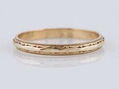 Filigree Jewelers :: Antique Wedding Band Art Deco Geometric in 14k Yellow Gold - Minneapolis, MN