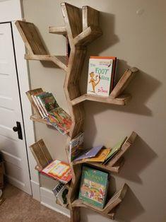 Tree Bookshelf, Rustic Bookshelf, Rustic Tree Shelf, Nursery Bookshelf – Designs By Dom and Mel Diy Bookshelf Design, Diy Bookshelf Plans, Tree Bookshelf, Nursery Bookshelf, Rustic Bookshelf, Tree Shelf, Wood Bookshelves, Bookcase Decorating, Book Shelf For Nursery