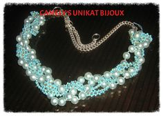 CAMELY'S UNIKAT BIJOUX ANGEL-BLUE NECKLACE; pearl and turquoise beads dimension 55 cm long; UNIQUE HANDMADE JEWELRY by Camely's Unkat Bijoux    Pret:49 lei (17$ / 13 euro/4000 ft); ORDERS or more products on https://www.facebook.com/unikat.bijou.handmade.Camely