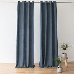 The grommet linen curtains have a gentle drape and bring a natural, easy charm to a home. The supersoft yet robust linen can be machine washed, making it easy to keep these curtains looking their best. Blue Curtains, Linen Curtains, Curtain Fabric, Bath Linens, Kitchen Linens, Table Linens, Bath Room, Living Room, Elegant
