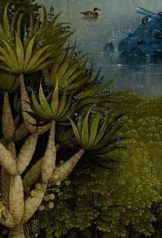 Detail from The Garden Of Earthly Delights, Hieronymus Bosch, 1490 - 1510 Hieronymus Bosch, Jan Van Eyck, Botanical Illustration, Illustration Art, Garden Of Earthly Delights, Grafik Design, Art Plastique, Art World, Painting & Drawing