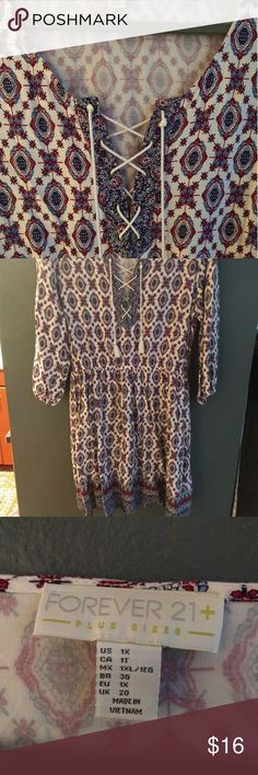 "Forever 21 Plus Tunic/Dress with Pockets Worn once and has just been hanging in my closet, pretty much brand new. Very cute. Has pockets! Can be worn as a tunic or dress. I'm 5'8"" and it's a bit short on me, may be normal length on a shorter person. Forever 21 Dresses"
