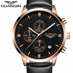US $59.98 - 2016 Men Watches Luxury Top Brand GUANQIN Sports Chronograph Fashion Male Dress Leather Belt Clock Waterproof Quartz Wrist Watch