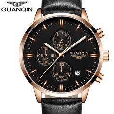 US $59.98 - 2016 Men Watches Luxury Top Brand GUANQIN Sports Chronograph Fashion Male Dress Leather Belt Clock Waterproof Quartz Wrist Watch