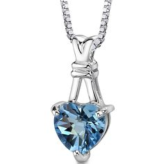 3.00 Carats Heart Shape Swiss Blue Topaz Pendant Necklace in Sterling Silver Rhodium Nickel Finish *** Continue to the product at the image link.-It is an affiliate link to Amazon. #Necklace