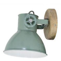 Wandlamp Elay hout natural-industrieel groen 18x20x19
