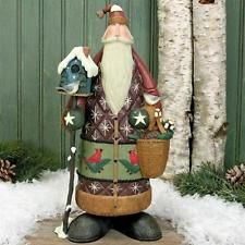 Santa Holding Birdhouse and Basket Figurine - Christmas Folk Art & Holiday Collectibles - Williraye Studio Merry Christmas Pictures, Santa Pictures, Very Merry Christmas, Father Christmas, Christmas Tree Ornaments, Christmas Time, Vintage Christmas, Christmas Crafts, Christmas Decorations