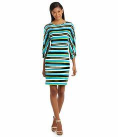 23283e29a6 Calvin Klein Striped OpenSleeve Shift Dress  Dillards Dillards