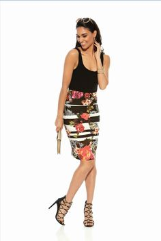 Pretty floral and striped pattern pencil skirt sits at natural waist and hits right above the knee. Melbourne Races, Melbourne Cup, Races Fashion, Fashion 2016, Race Wear, Spring Racing, Classy Chic, Classic Elegance, My Wardrobe
