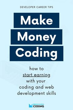 Want to learn coding to start a career and make money online? This guide will help you find the right type of web developer job, either front end or back end. Learn how to earn income with coding and your programming skills. What skills do you need? What's the salary like? Where to find freelance work or a full-time office job. Setup your portfolio website and start learning today! #mikkegoes Learn Programming, Computer Programming, Learn To Code, How To Code, Way To Make Money, Make Money Online, Career Websites, Study Tips, Study Hacks