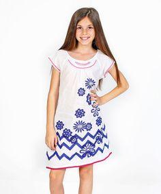 Love this White Floral Chevron Valentine Dress - Toddler & Girls on #zulily! #zulilyfinds