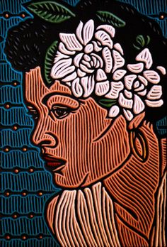 Woodcut Billie Holiday  Artist Lisa Brawn