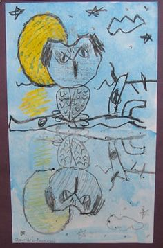 final project? Owl Reflections: Crayon Resist Drawing Lesson for Kids at KinderArt; Art for Elementary School Children
