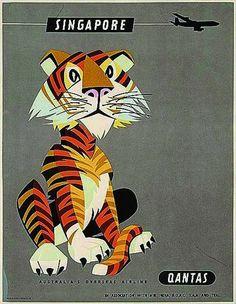 Vintage Qantas poster-  To Singapore!