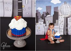 Baby's 1st Birthday-Superman Cake Smash-Newport Beach, newborn, family portrait, wedding, children, and baby photographer in Orange County, husband and wife photographers, Great Dane Bakery, Giant Cupcake, Super heroes, studio garden, super hero cape, adorable, creative, cute, cake smash ideas, happy baby, toddlers, I am one, baby boy, GilmoreStudios.com