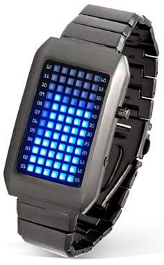 Merlin Digital представляет бинарные часы из будущего – часы с революционным методом отображения текущего времени. Эти часы действительно показывают время, используя для этого 72 синих светодиода на лицевой панели.      Первые 12 светодиодных ламп отвечают за отображение текущего часа, а остальные 60 указывают текущую минуту.  Ничего сложного, все интуитивно понятно и в то же время необычно и эффектно.  http://merlin-digital.com.ua/merlin-binarnye-chasy-iz-buduschego.html