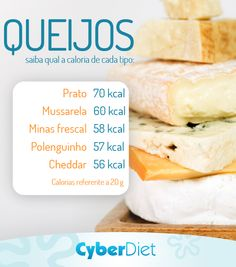 Conheça as calorias de alguns tipos de queijos! http://maisequilibrio.terra.com.br/queijos-e-vinhos-2-1-1-623.html?origem=Pinterest