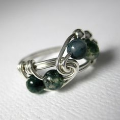 Math Ring Wire Wrapped Ring Green Moss Agate and Sterling Silver Math Jewelry in Fibonacci design. This ring design was inspired by the fibonacci