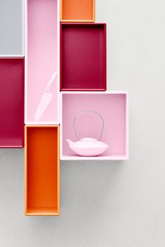 Montana in Candy Floss, Rio and Yoko Orange. Montana Furniture, Home Goods Decor, Home Decor, Pink Out, Orange Interior, Candy Floss, Danish Design, Floating Nightstand, Cubes
