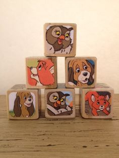 The Fox and The Hound // Nursery Decor // Baby Shower // Childrens Book Blocks // Natural Wood Toy on Etsy, $26.00