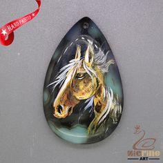 Jewlery Pendant Hand Painted Horse Natural Gemstone Bead  ZL806014 #ZL #Pendant