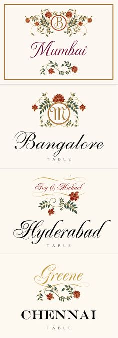Shadi :: Weddings :: Table Names :: Indian Wedding Table Name Cards, Indian Wedding Cards, Table Cards, Invitation Ideas, Invitations, Indian Table, Vintage Monogram, Monogram Wedding, Stationary
