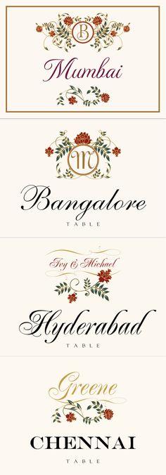 Shadi :: Weddings :: Table Names :: Indian