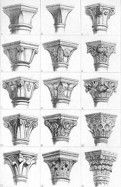 Gothic capitals by John Ruskin: - Gothic capitals by John Ruskin: . - Gothic capitals by John Ruskin: – Gothic capitals by John Ruskin: – - Architecture Antique, Classic Architecture, Architecture Drawings, Architecture Details, Interior Architecture, Gothic Style Architecture, Roman Architecture, Concept Architecture, Sustainable Architecture