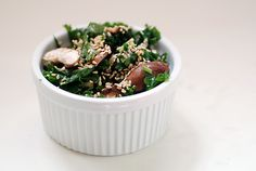 Kale and raw shitake salad, based on a raw restaurant recipe. Ha, say that 3 times fast.