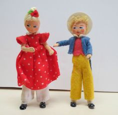 Vintage Peter Peter Pumpkin Eater doll w/wife, felt, metal feet ,Baps Von Arps
